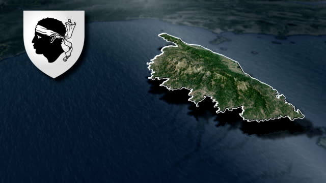 Corsica whit Coat of arms animation map video