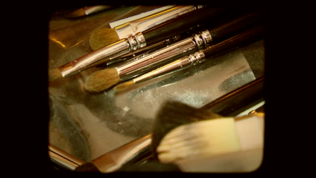 Cosmetic brushes. Old movie video