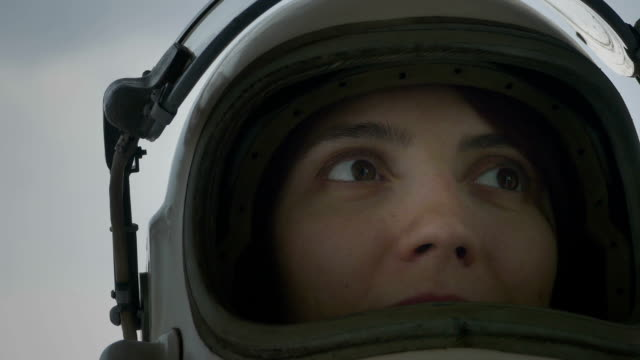 Cosmonaut with Helmet Face Shield Up video