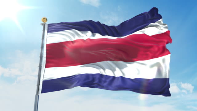 Costa Rica flag waving in the wind against deep blue sky. National theme, international concept. 3D Render Seamless Loop 4K Costa Rica flag waving in the wind against deep blue sky. National theme, international concept. 3D Render Seamless Loop 4K allegory painting stock videos & royalty-free footage