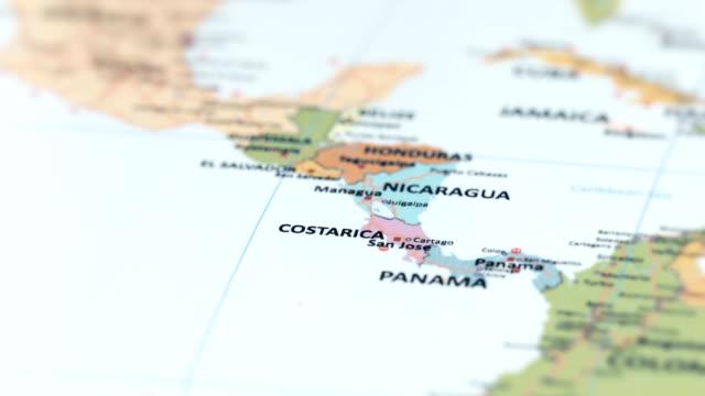 nord america costa rica sulla mappa del mondo - america latina video stock e b–roll
