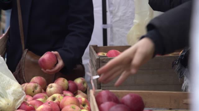 Costumer choosing red apples in city fruit and vegetable market. Buyer picking red juicy apples in farmers market video