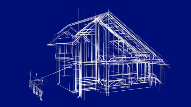 Cottage Architecture Wireframe Sketch video
