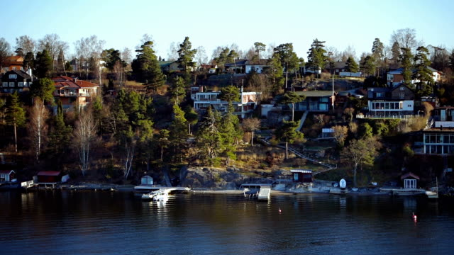 Cottages on a sea island video