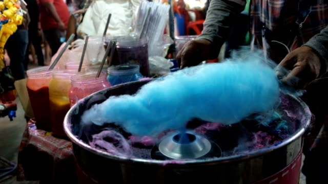 Cotton candy street food market in thailand Cotton candy street food market in thailand  And very rare to eat. cotton candy stock videos & royalty-free footage