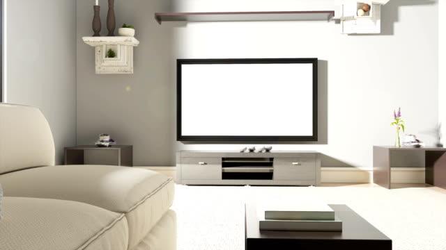 Sofá e TV com bandeira do Brasil - vídeo