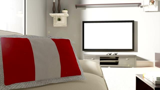 Sofá y TV con la bandera del Perú - vídeo