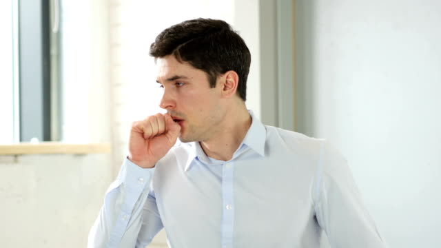Cough, Man Coughing in Office, Indoor video