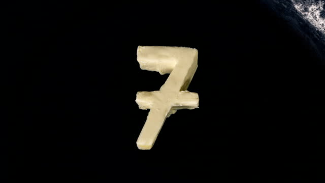 countdown animation of butter in shape of numbers melting on hot pan - close up top view - 10 11 лет стоковые видео и кадры b-roll