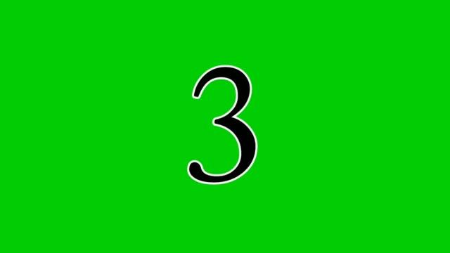 4k countdown cartoon animation nummer 10 bis 1 auf dem grünen bildschirm. animationsnummer auf grünem hintergrund mit sport oder wettkampf.chroma-taste und beleuchtet - comic font stock-videos und b-roll-filmmaterial