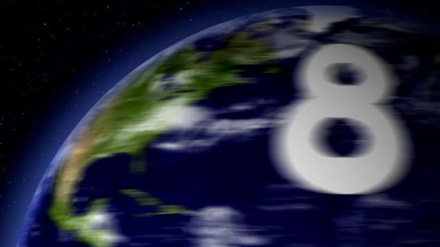 vídeos y material grabado en eventos de stock de cuenta atrás desde 10-0 a spinning planeta - gran inauguración
