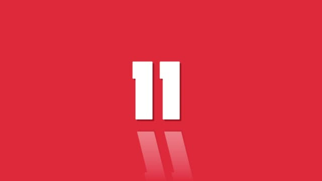 countdown leader 15 to one with reflection modern style red