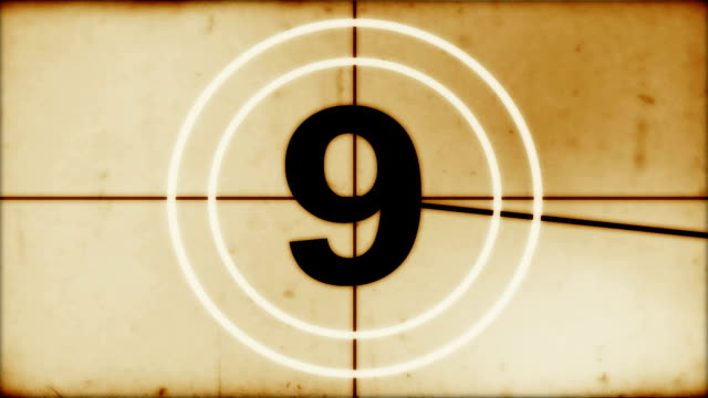 Countdown leader Old style, universal countdown leader. sepia toned stock videos & royalty-free footage