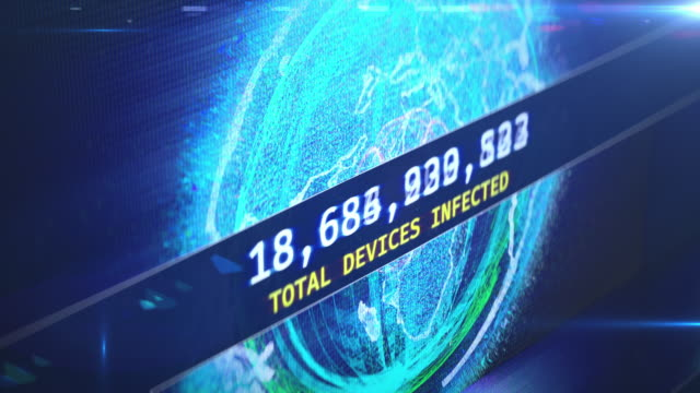 Countdown of infected devices, hacked routers, bot farm attack, hacking, breach