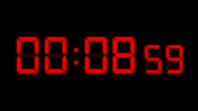 LED Countdown Red HD Computer generated animation of digital alarm clock LEDs counting down from ten seconds. timer stock videos & royalty-free footage