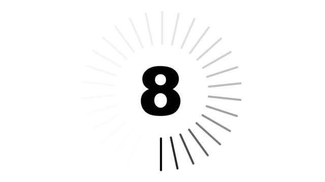 Countdown simple white Countdown from 10 to 1. Simple countdown with a circle wiping clockwise on white background. instrument of time stock videos & royalty-free footage
