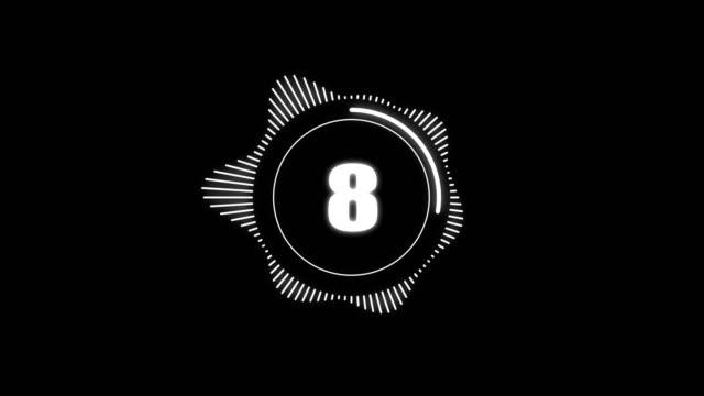 stockvideo's en b-roll-footage met countdown timer van 10 tot 0 seconden en audio spectrum grafisch. circulaire kleurrijke futuristische laser glitch interferentie - minder dan 10 seconden