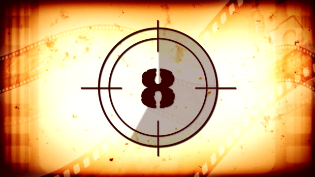 Countdown with vintage film reel video