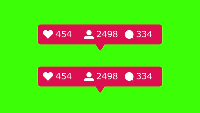 counter people likes posts. social network rating icons. green background - social media стоковые видео и кадры b-roll