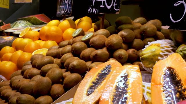 Counter with Fruits at a Market in La Boqueria. Barcelona. Spain video