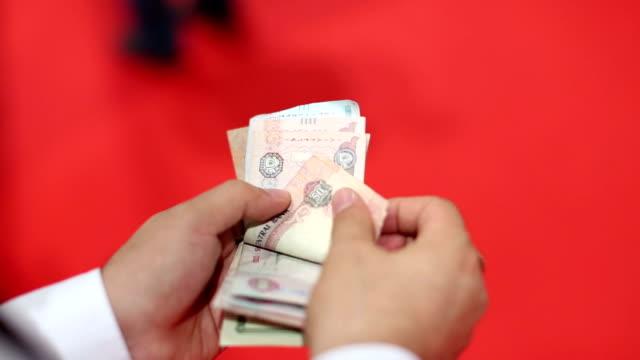 Counting cash money. AED.United Arab Emirates Dirham video