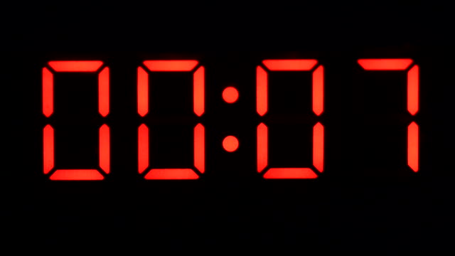 Counting Down A digital clock with red numbers on a black face counting down from ten to zero instrument of time stock videos & royalty-free footage