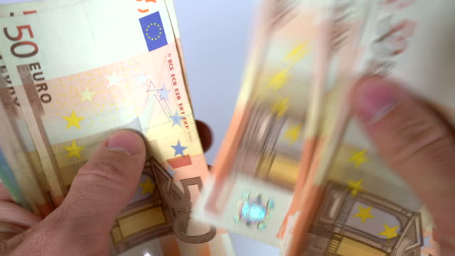 Counting Euro Euro banknotes video