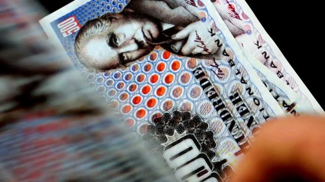 vídeos de stock e filmes b-roll de contando dinheiro-coroa dinamarquesa (coroa) - coroa