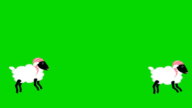 Counting Sheep Jumping on green screen chromakey