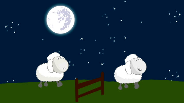 Counting Sheep that Jumping Above a Wooden Fence in a Starry Night with a Full Moon
