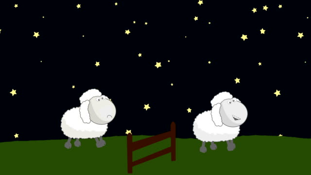Counting Sheep that Jumping Above a Wooden Fence in a Starry Night video