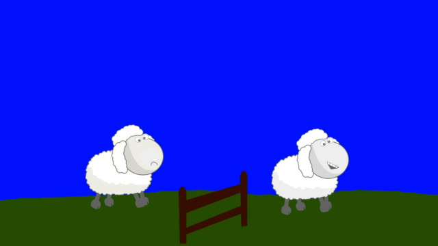 Counting Sheep that Jumping Above a Wooden Fence on a Blue Screen Background