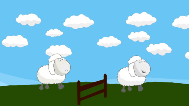 Counting Sheep that Jumping Above a Wooden Fence video