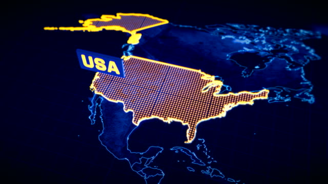 USA country border 3D visualization, modern map outline, travel