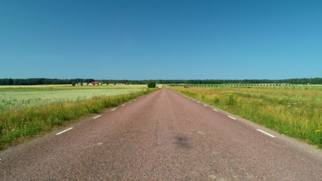 Country road along golden fields Driving through a country road surrounded by an open plain with wheat fields. Filmed in Sweden a hot summer day. horizon over land stock videos & royalty-free footage