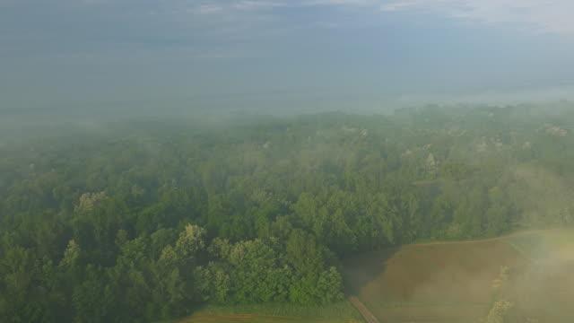 vídeos de stock e filmes b-roll de antena rural ao longo do rio - multicóptero