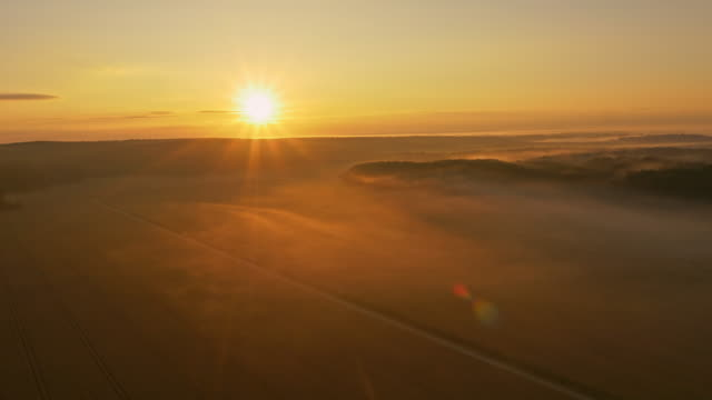 AERIAL Countryside covered with morning mist video