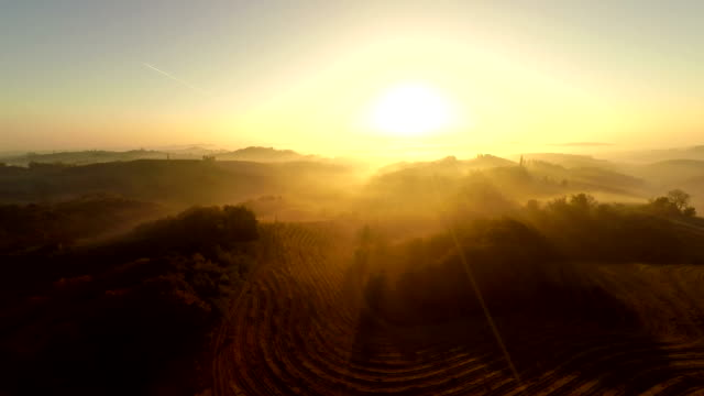 AERIAL Countryside In Misty Sunset