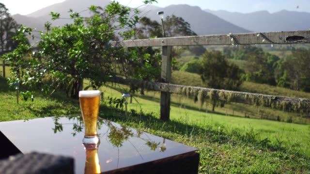 vídeos de stock e filmes b-roll de countryside relaxation with some beer - driveway, no people