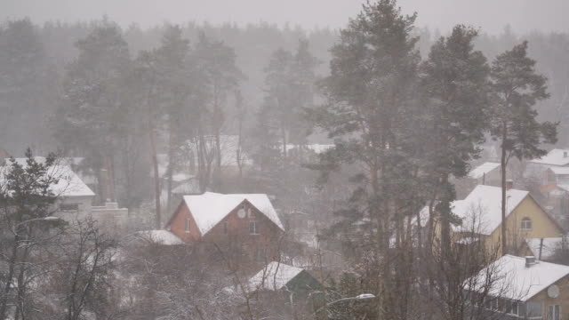 landsbygd vinterlandskap, landsbygds stugor och träd täckta med snö - roof farm bildbanksvideor och videomaterial från bakom kulisserna