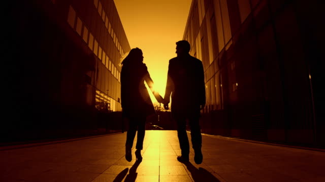 HD SLOW-MOTION: Couple At Sunset  falling in love stock videos & royalty-free footage