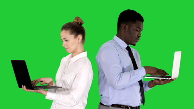 Couple back to back standing and working on laptops on a Green Screen, Chroma Key Medium shot. Couple back to back standing and working on laptops on a Green Screen, Chroma Key. Professional shot in 4K resolution. 012. You can use it e.g. in your commercial video, medical, business, presentation, broadcast back to back stock videos & royalty-free footage