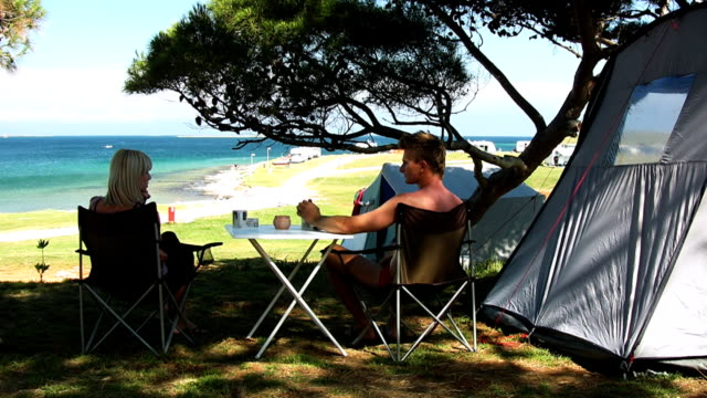 HD: Couple Camping On The Beach video