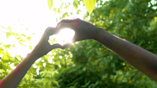 couple crossing hands in heart shape, endless love, homosexual orientation - mano donna dita unite video stock e b–roll