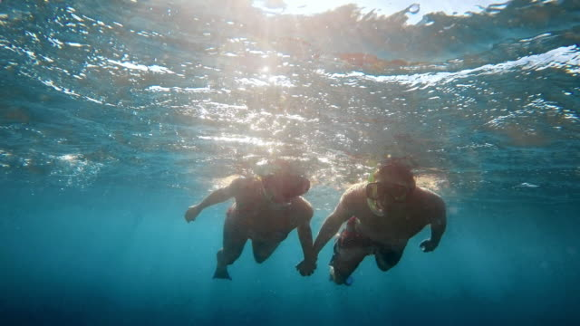 POV Couple diving holding hands video