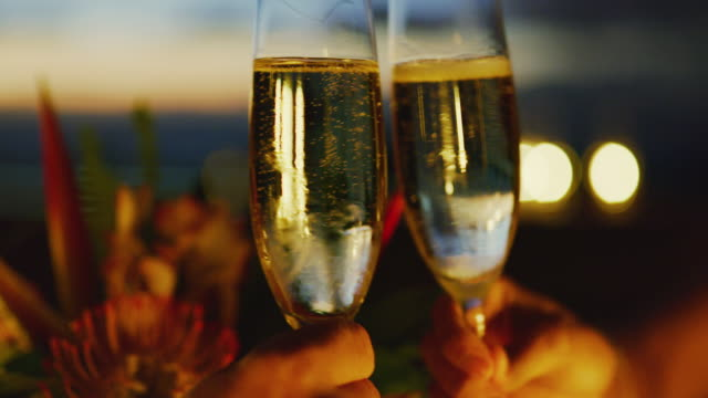vídeos de stock e filmes b-roll de couple drinking champagne at sunset - champanhe
