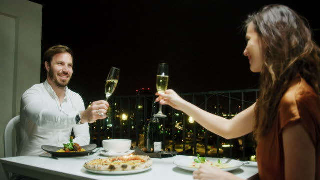 couple during romantic dinner - date night stock videos & royalty-free footage