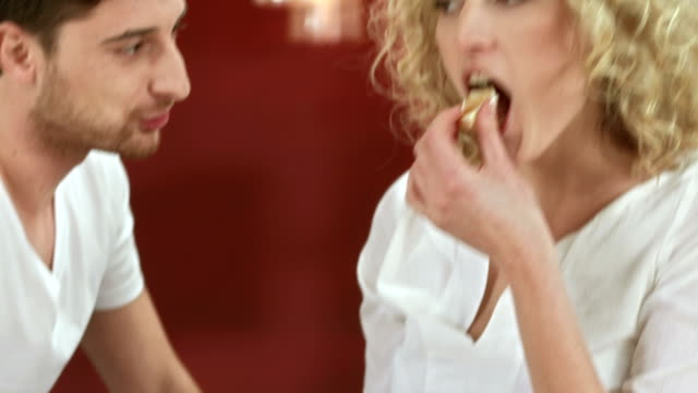 Couple Eating Breakfast video