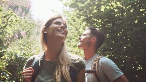 coppia che si gode le escursioni nella foresta - fidanzato video stock e b–roll
