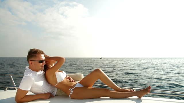 Couple Enjoying the Cruise on Luxury Yacht video
